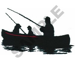FISHERMEN IN CANOE embroidery design