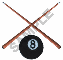 EIGHT BALL AND POOL STICKS embroidery design
