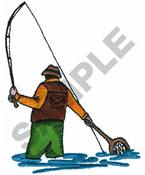 FLY FISHERMAN embroidery design