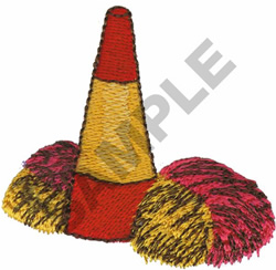 MEGAPHONE AND POM PONS embroidery design