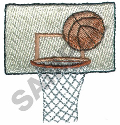BASKETBALL AND HOOP embroidery design