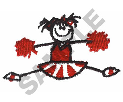 STICK CHEERLEADER embroidery design