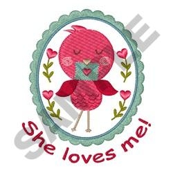 SHE LOVES ME embroidery design