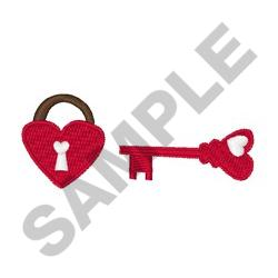 HEART PADLOCK AND KEY embroidery design