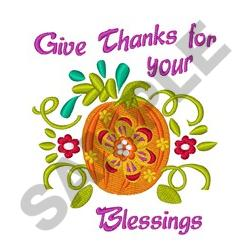 THANKS FOR BLESSINGS embroidery design
