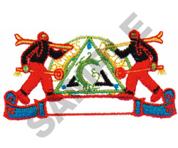 SKIERS LOGO & BANNER embroidery design