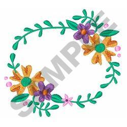 OVAL FLORAL FRAME embroidery design
