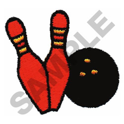 TWO BOWLING PINS & BALL embroidery design