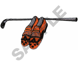 GOLF SHOES & CLUB embroidery design