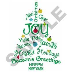 JOY OF CHRISTMAS TREE embroidery design