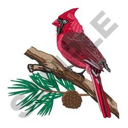 CARDINAL ON PINE embroidery design