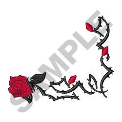 TRIBAL ROSE CORNER embroidery design