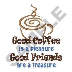 GOOD COFFEE AND FRIENDS embroidery design