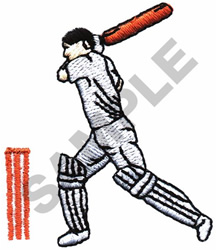 CRICKET BATTER embroidery design