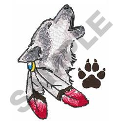 WOLF AND PAW PRINT embroidery design