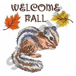 WELCOME FALL CHIPMUNK embroidery design