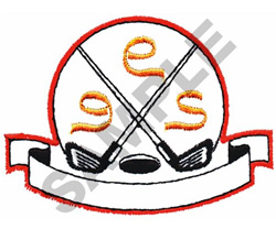 GOLF CLUBS OVER HOLE embroidery design