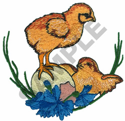 CHICKS WITH EGG embroidery design