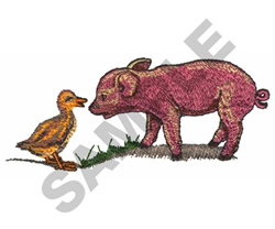PIGLET AND DUCKLING embroidery design