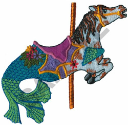 CAROUSEL MERMAID HORSE embroidery design