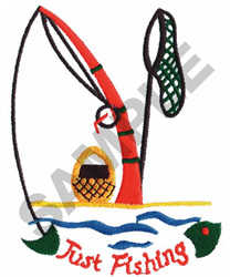 JUST FISHING embroidery design