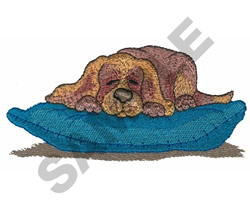 PUPPY LAYING ON PILLOW embroidery design