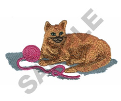 CAT PLAYING WITH YARN embroidery design