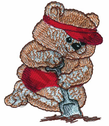 TEDDY IN THE SAND embroidery design