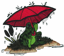 FROG WITH UMBRELLA embroidery design
