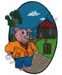 BRICK HOUSE PIG embroidery design