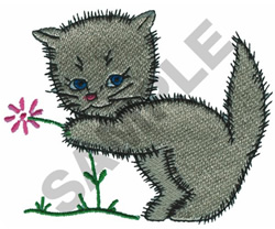 KITTEN WITH FLOWER embroidery design