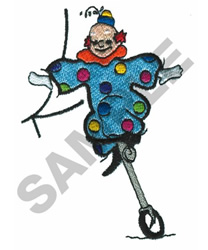CLOWN ON UNICYCLE embroidery design