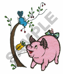 PIG WITH BIRD embroidery design