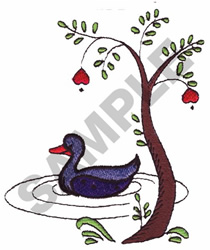 DUCK UNDER A TREE embroidery design