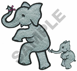 MOTHER AND BABY ELEPHANT embroidery design