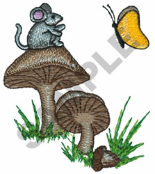 MOUSE, BUTTERFLY, & MUSHROOMS embroidery design