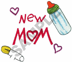 NEW MOM BOTTLE & BABY PIN embroidery design