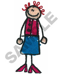 STICK LADY embroidery design