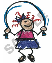 STICK GIRL JUMPING ROPE embroidery design
