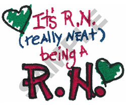 ITS R.N. BEING A R.N embroidery design