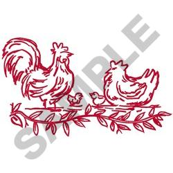 CHICKEN FAMILY REDWORK embroidery design