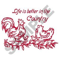 LIFE IS BETTER IN THE COUNTRY embroidery design