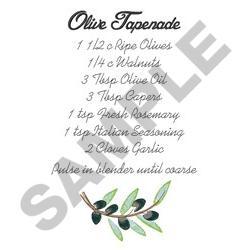 OLIVE TAPENADE RECIPE embroidery design