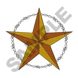 WESTERN STAR AND BARBED WIRE embroidery design