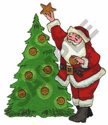 SANTA W/CHRISTMAS TREE embroidery design