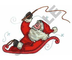 SANTA RIDING SLEIGH embroidery design