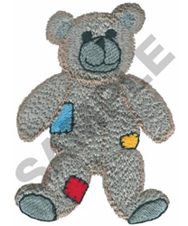 TEDDY BEAR WITH PATCHES embroidery design