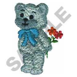 TEDDY BEAR HOLDING FLOWERS embroidery design