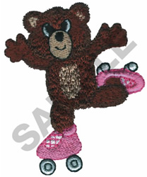 TEDDY BEAR ON SKATES embroidery design