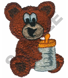TEDDY BEAR WITH BABY BOTTLE embroidery design